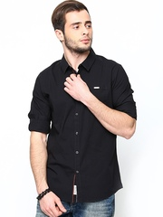 Being Human Clothing Men Black Slim Fit Casual Shirt