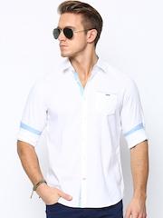 Being Human Clothing Men White Slim Fit Casual Shirt