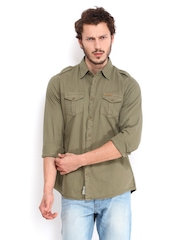 Being Human Clothing Men Khaki Slim Fit Casual Shirt
