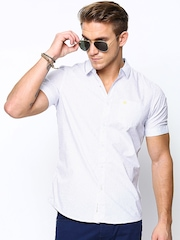 Being Human Clothing Men White Printed Slim Fit Casual Shirt