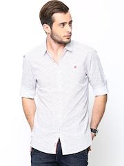 Being Human Clothing Men White Printed Slim Fit Casual Shirt