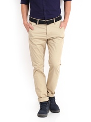 Being Human Clothing Men Beige Chino Trousers