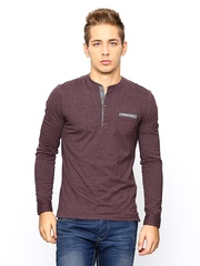 Being Human Men Wine Coloured Henley T-Shirt