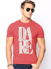 Being Human Clothing Men Coral Red Printed T-shirt