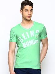 Being Human Clothing Men Green Printed T-shirt