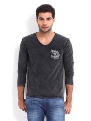 Being Human Clothing Men Charcoal Grey Printed T-shirt