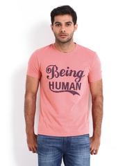 Being Human Clothing Men Pink T-shirt