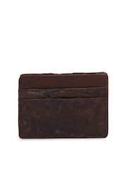 Being Human Men Brown Leather Card Holder
