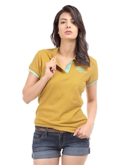 Being Human Clothing Women Mustard Yellow Polo T-shirt