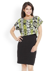 Bella Rosa Black and Green Printed Pencil Skirt Dress