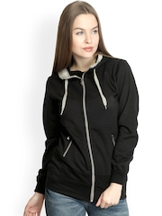 Belle Fille Women Black Hooded Sweatshirt