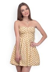 Belle Fille Yellow Printed Skater Dress
