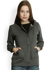 Belle Fille Women Grey Hooded Jacket