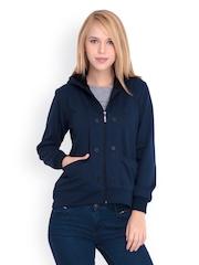 Belle Fille Women Navy Hooded Sweatshirt