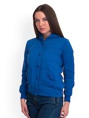 Belle Fille Women Blue Fleece Hooded Jacket