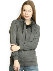 Belle Fille Women Grey Hooded Sweatshirt