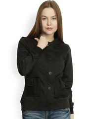 Belle Fille Women Black Hooded Jacket