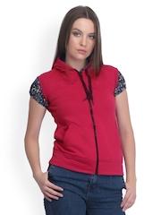 Belle Fille Women Red Hooded Sleeveless Fleece Jacket