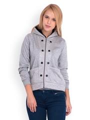Belle Fille Women Grey Melange Hooded Jacket