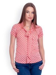 Belle Fille Women Peach Coloured Polka Dot Print Top