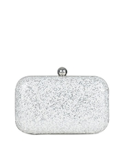 Berrypeckers White & Silver Toned Box Clutch