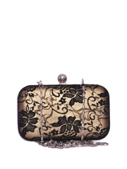 Berrypeckers Black & Gold Toned Printed Box Clutch