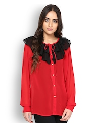 Women Red And Black Shirt Besiva