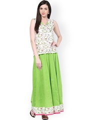Bhama Couture White & Green Kurti with Maxi Skirt