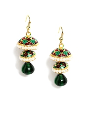 Bhamini Red & Green Drop Earrings