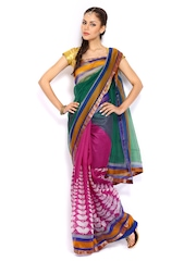 Bhoondh Green & Magenta Super Net Fashion Saree