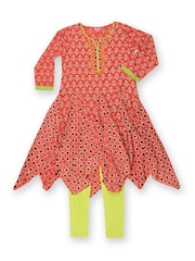 BIBA Girls Red & Green Churidar Kurta