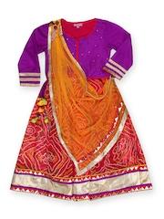 BIBA Girls Purple & Red Lehenga Choli Set