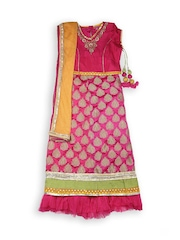 Biba Girls Pink Lehenga Choli with Dupatta
