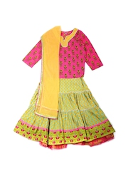 Biba Girls Pink & Yellow Printed Lehenga Choli with Dupatta