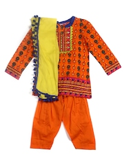 BIBA Girls Orange Patiala Kurta with Dupatta