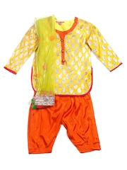 BIBA Girls Yellow & Orange Patiala Kurta with Dupatta