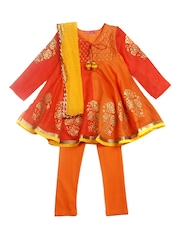 BIBA Girls Orange Anarkali Churidar Kurta with Dupatta