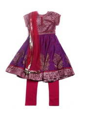 BIBA Girls Purple & Magenta Anarkali Churidar Kurta with Dupatta