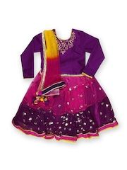 BIBA Girls Purple & Pink Lehenga Choli Set