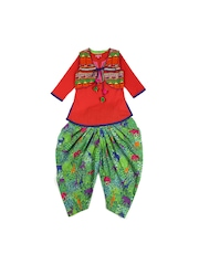 BIBA Girls Red & Green Salwar Kurta with Waistcoat