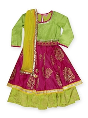 BIBA Girls Green & Pink Lehenga Choli Set