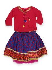 BIBA Girls Red & Blue Lehenga Choli Set