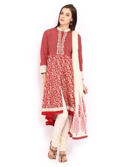 BIBA Women Red & Cream Coloured Printed Anarkali Churidar Kurta with Dupatta