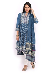 BIBA Women Blue & Cream Coloured Anarkali Churidar Kurta with Dupatta
