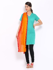 BIBA Orange & Red Printed Dupatta