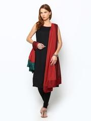 BIBA Women Red & Brown Dyed Dupatta