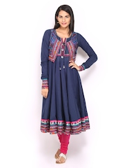 BIBA Women Navy Anarkali Kurta with Waistcoat