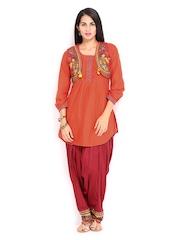 BIBA Women Orange & Red Printed Patiala Kurta Set