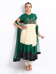 BIBA by Rohit Bal Women Green & Off White Embroidered Anarkali Churidar Kurta with Dupatta