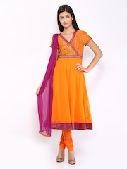 BIBA Women Orange Anarkali Churidar Kurta with Dupatta